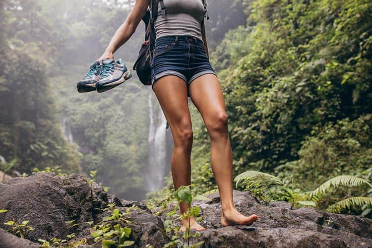 woman with healthy looking legs walking outdoors