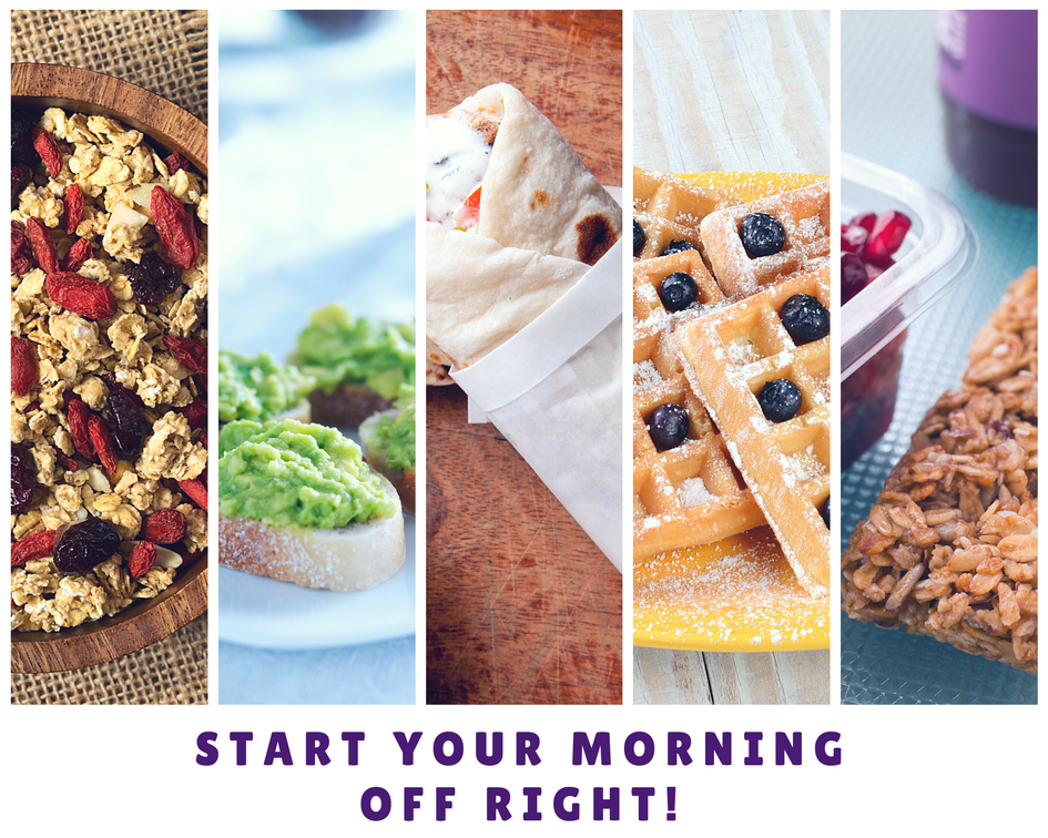 Collage of healthy breakfast options containing oat cereals, guacamole, egg white breakfast burrito, blueberry waffles, and more.