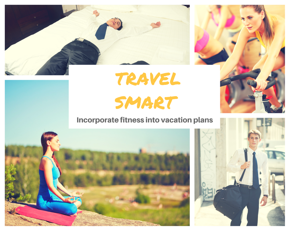 Collage of people sleeping, exercising, doing yoga, and more while traveling
