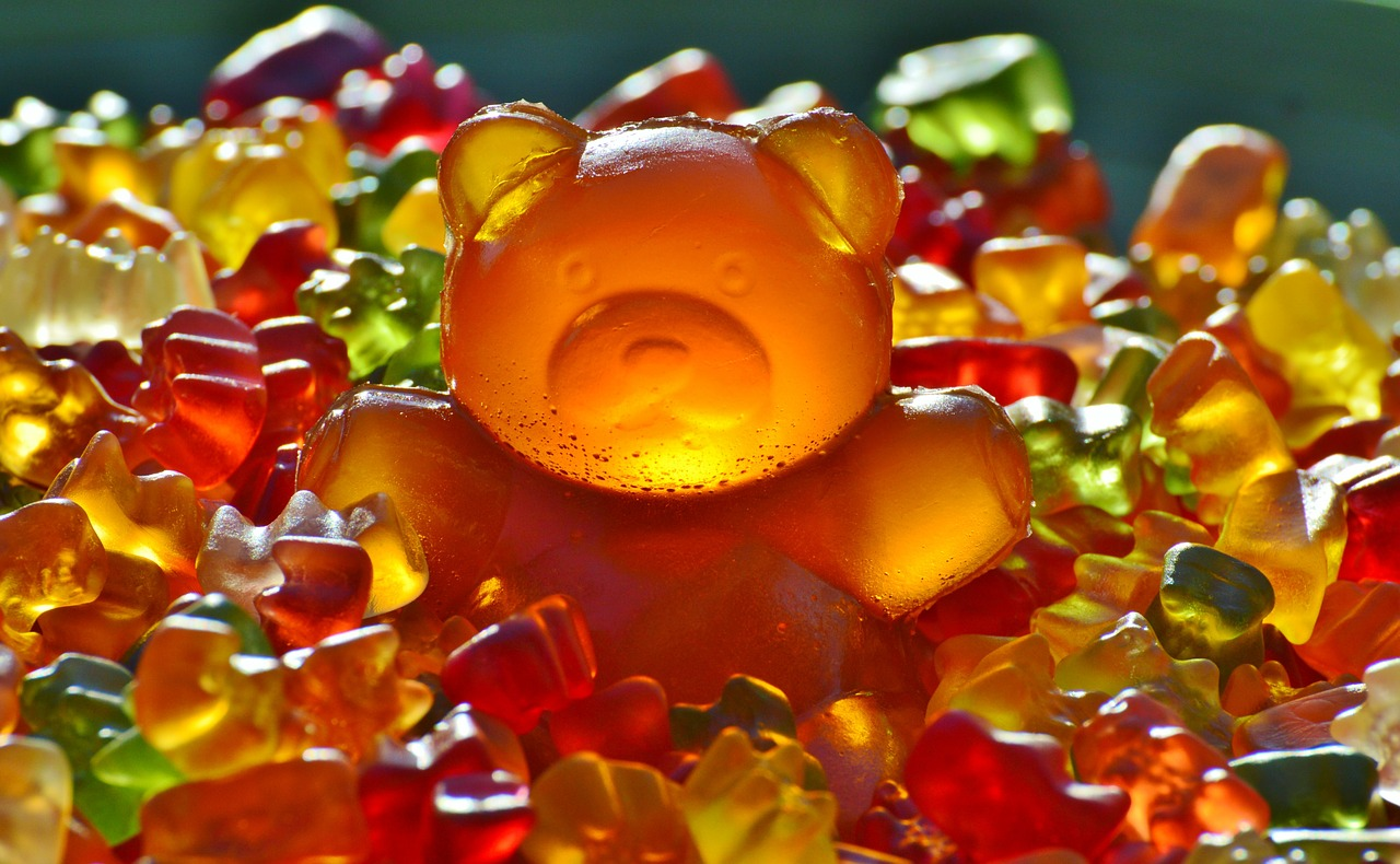 Gummi Bear sitting in a pile of other gummi bears coming out of its gut