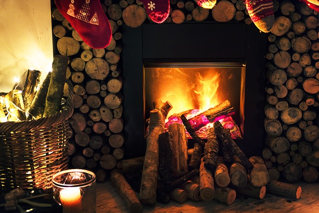 Fire in a fireplace during the holiday season