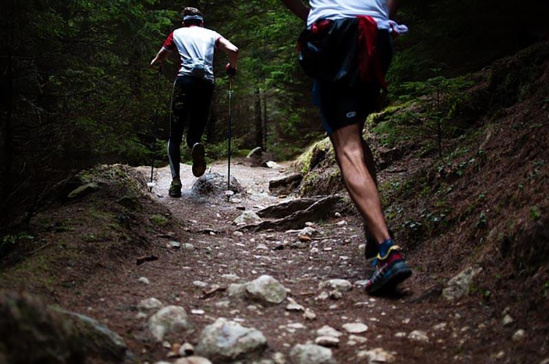 men hiking along a trail