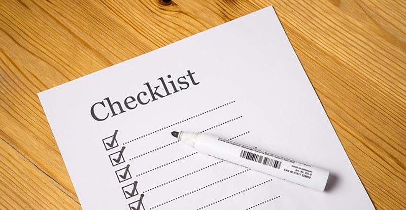 checklist on a table