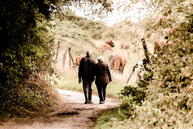 Seniors who are seeking vein treatment walking in the forest