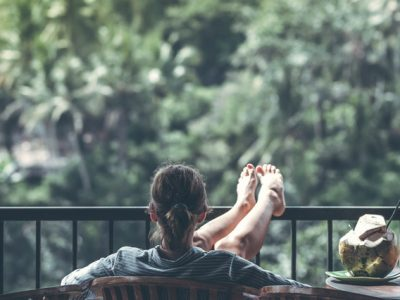 woman relaxing with her feet elevated