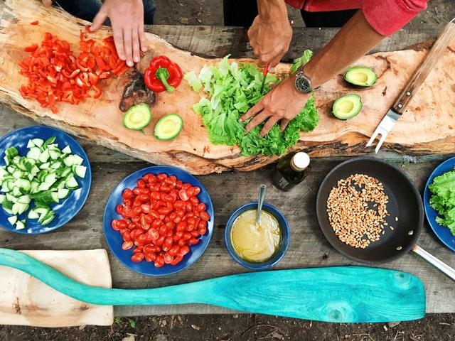 dining table full of fresh vegetables